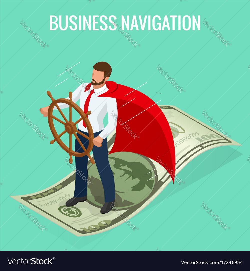 Isometric business navigation concept businessman
