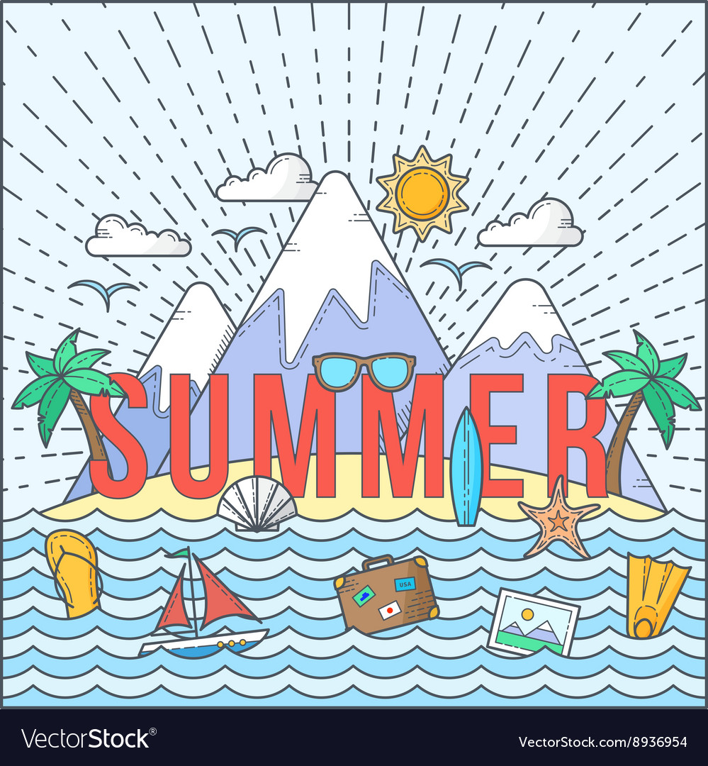 Line Style Flat Color Summer Card or