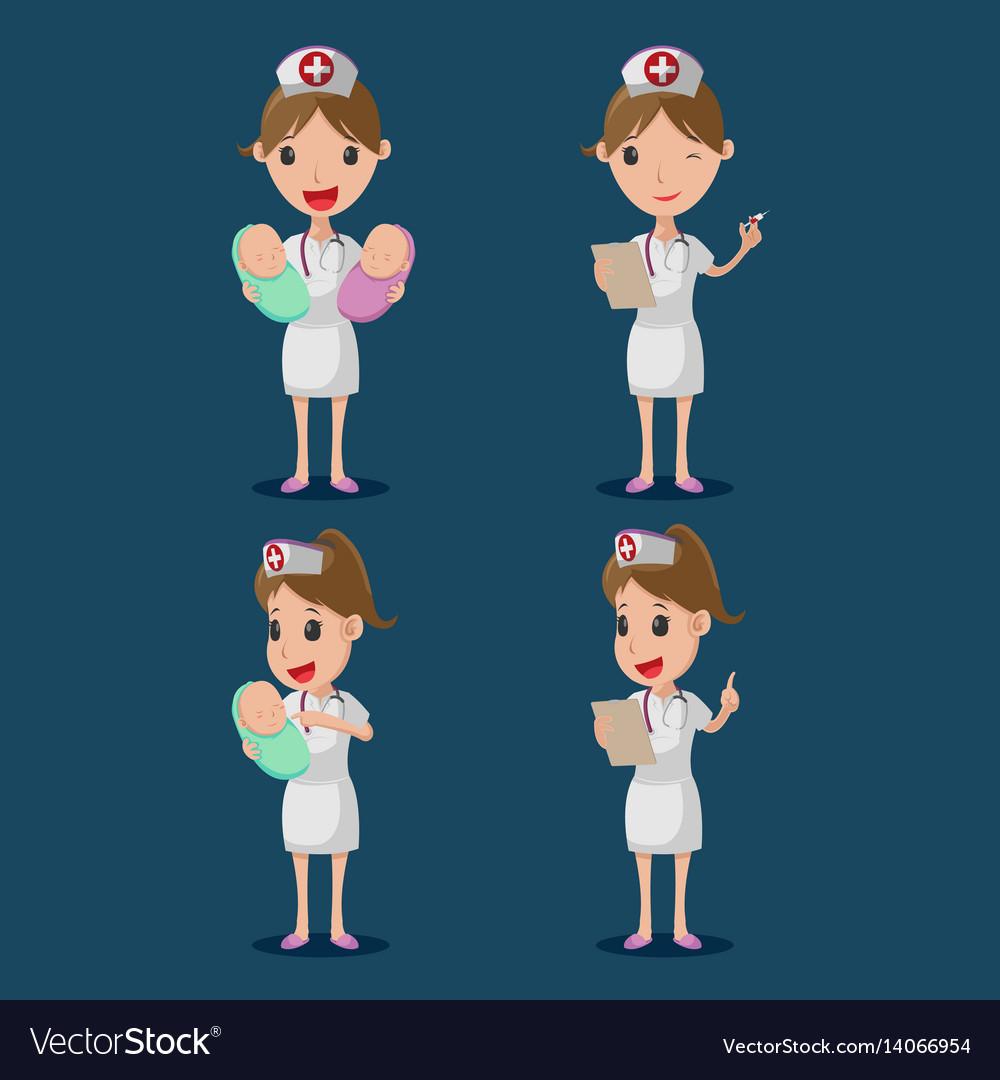 Nurse cartoon character white cloth set