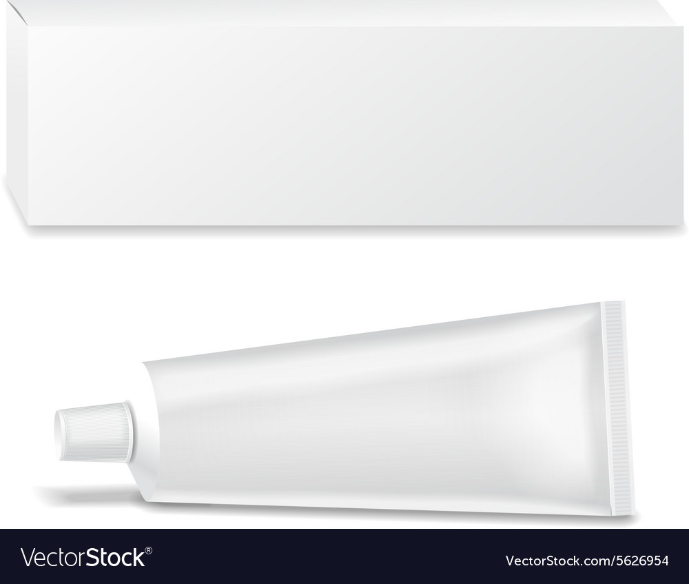 Realistic white tube and packaging For cosmetics
