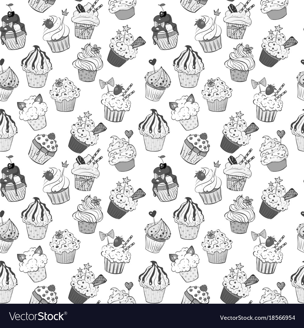 Seamless background with doodle sketch cupcakes on