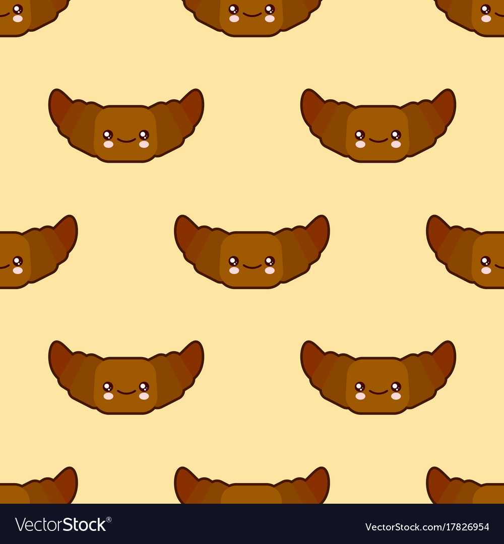 Seamless pattern with croissant cute fast food