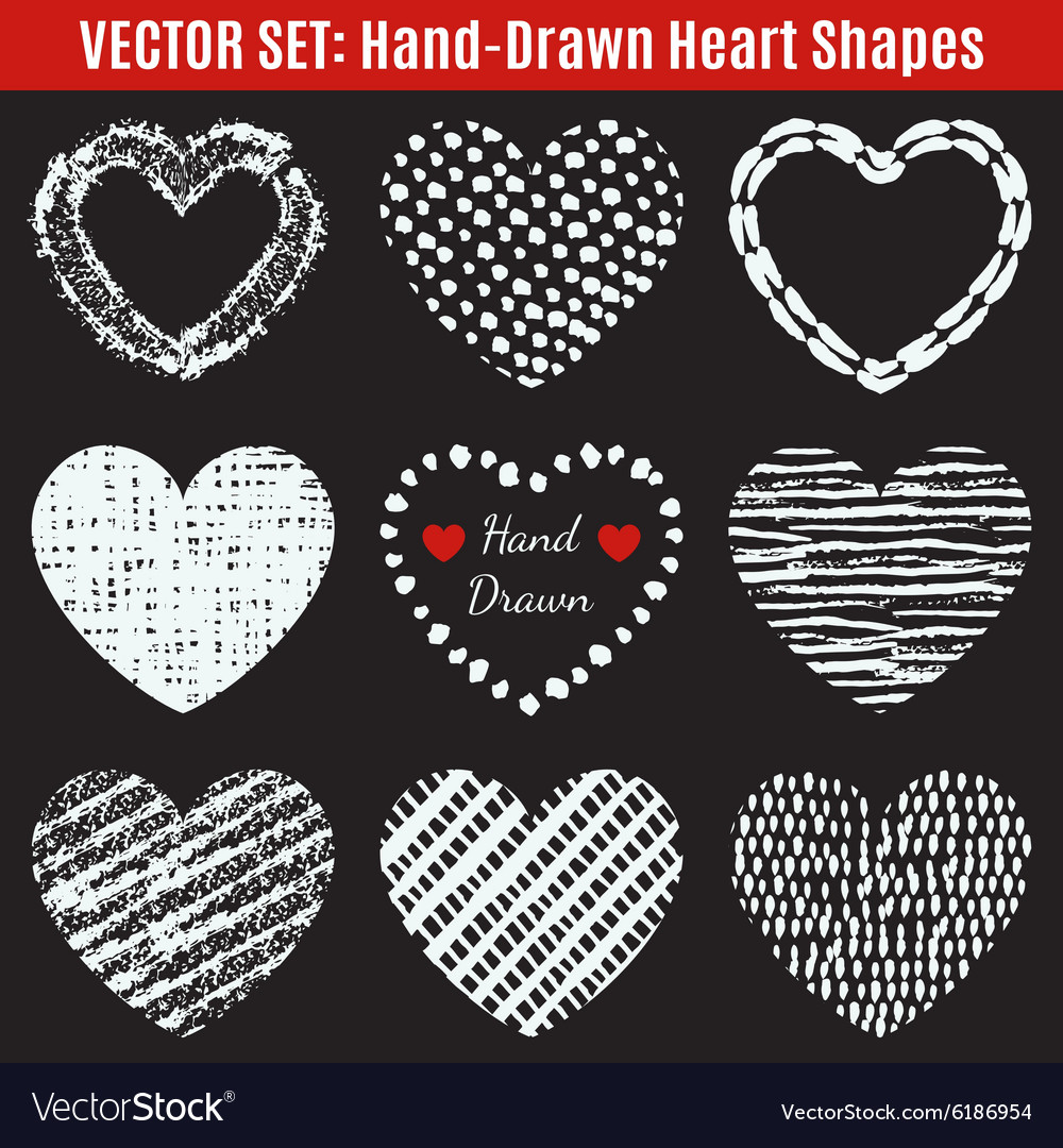 Set of hand-drawn textures heart shapes