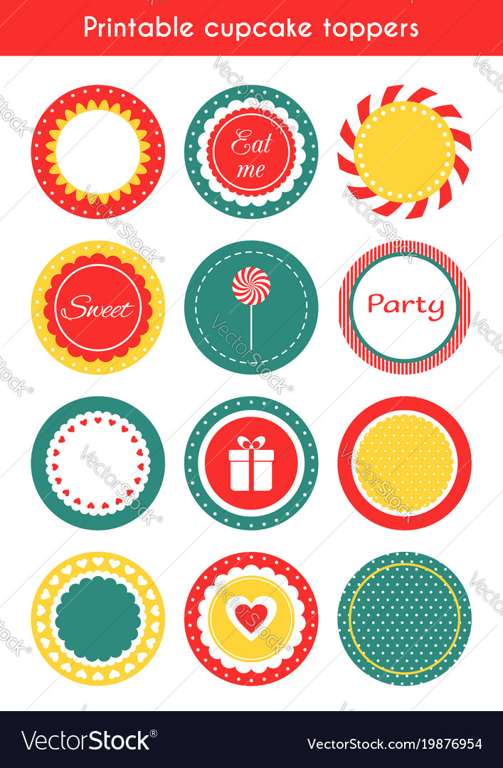 picture relating to Printable Cupcakes Toppers titled Fastened of printable tags cupcake toppers labels