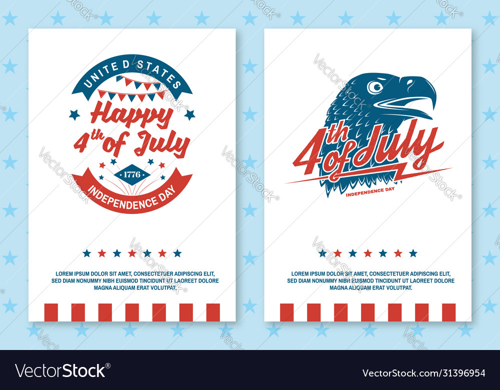 Set vintage 4th july poster flyer template