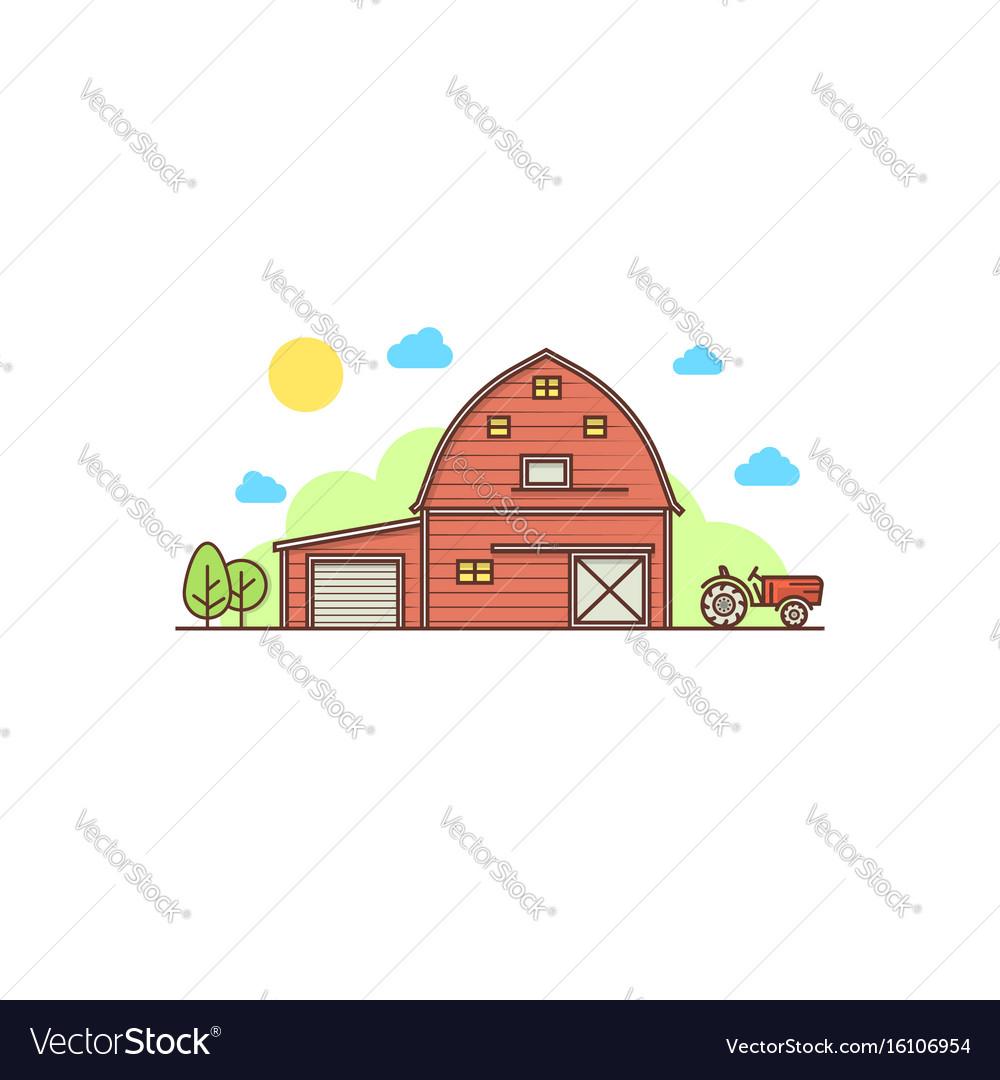 Thin line american farm icon