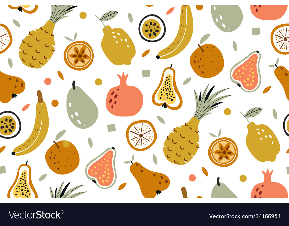 Tropical summer fruit seamless pattern