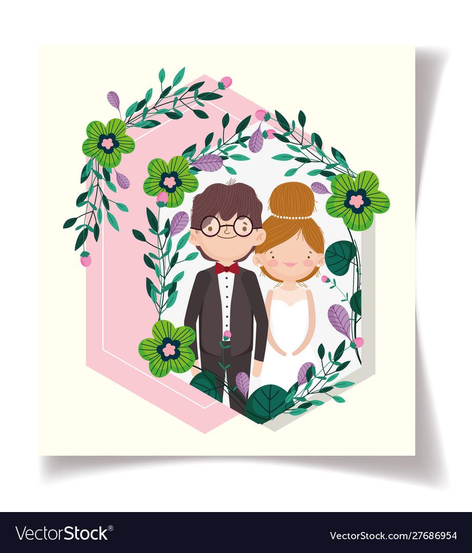 Wedding couple flower ornament event card
