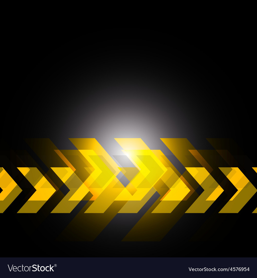 Yellow Arrow In Black Background Royalty Free Vector Image