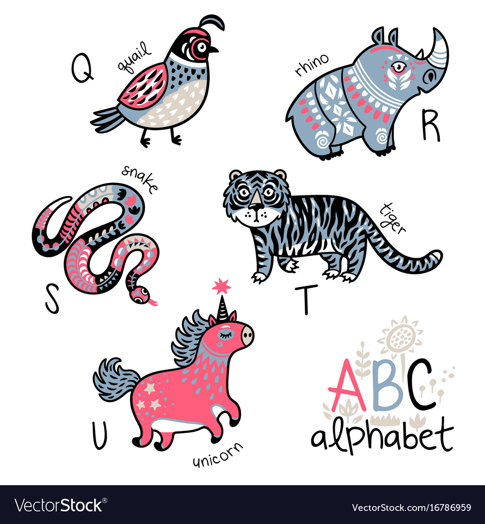 Animals alphabet q - u for children