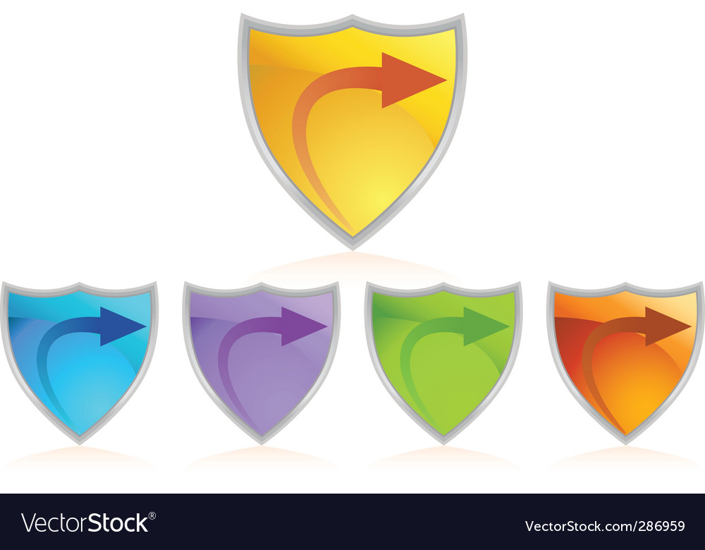 Arrow color chrome shield set vector