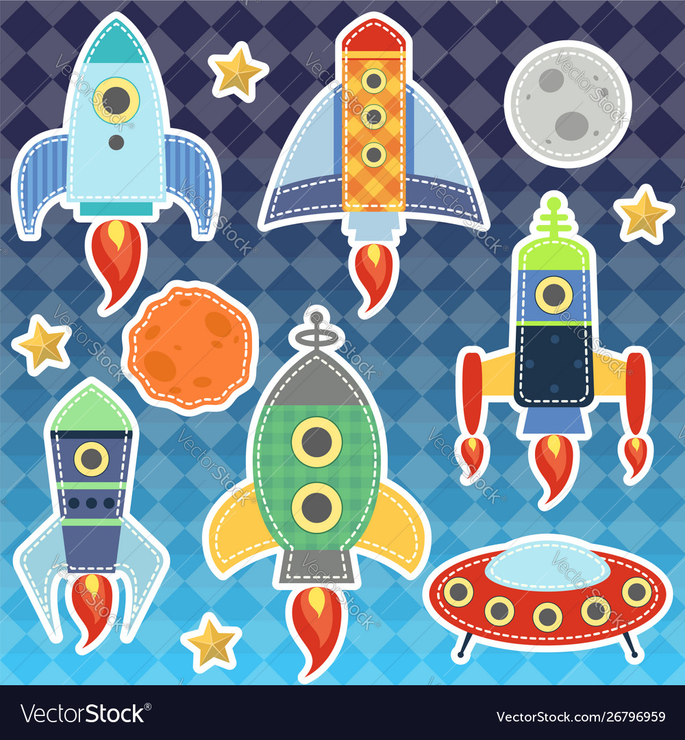Cartoon space rockets graphic moon stars
