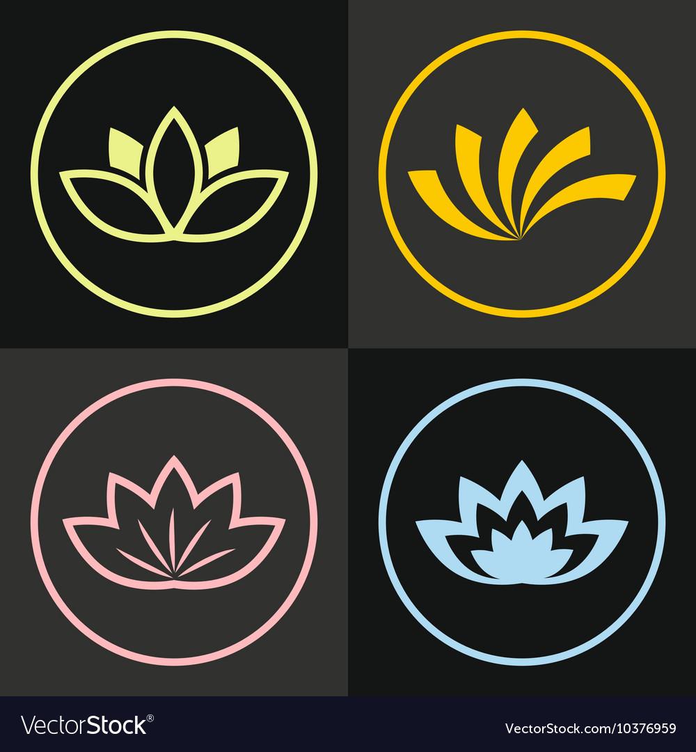 Color line flowers on black background vector image