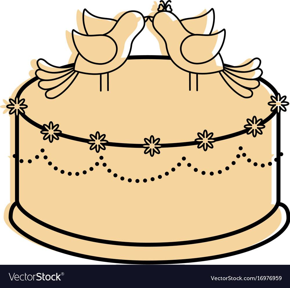 Cute wedding cake Royalty Free Vector Image - VectorStock