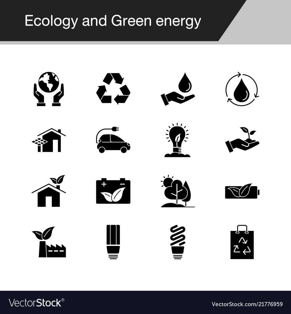 Ecology and green energy icons design for