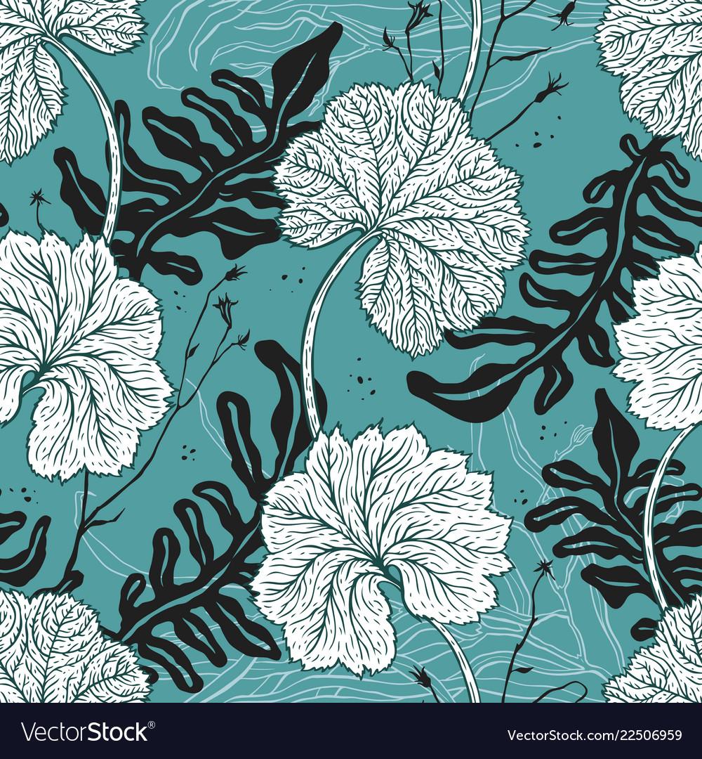 Elegant seamless vintage pattern leafs