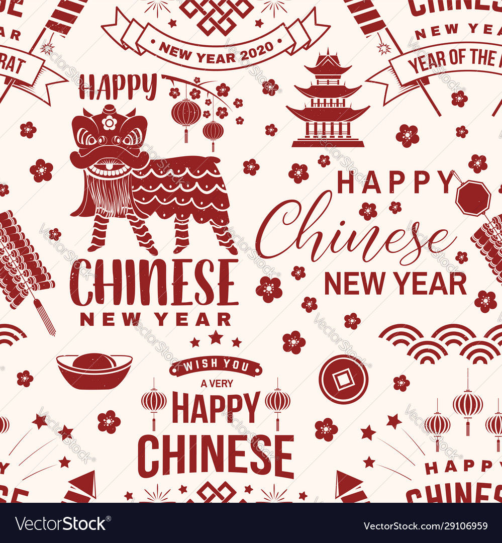 Happy chinese new year 2020 seamless pattern or