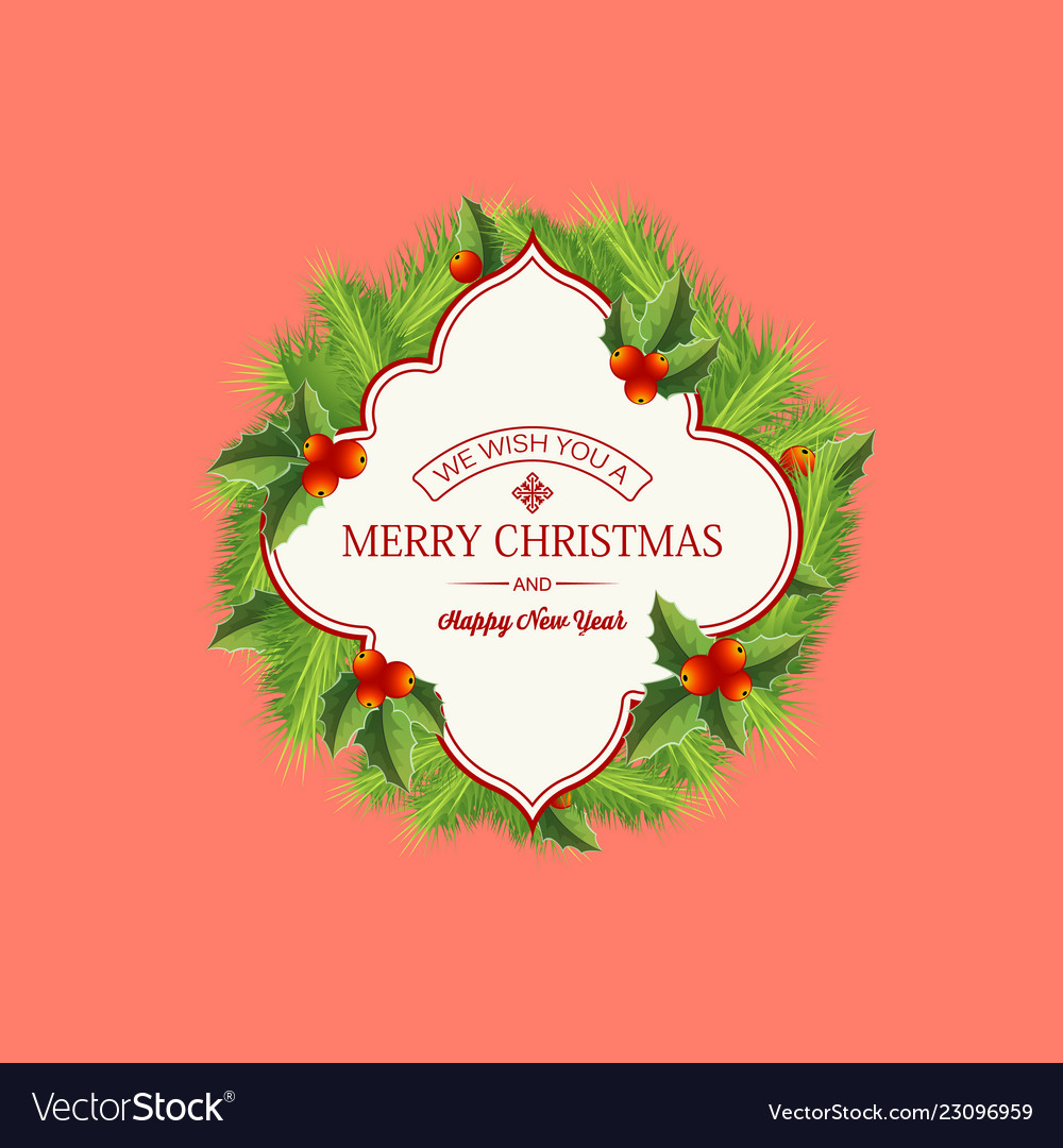natural christmas wreath template royalty free vector image