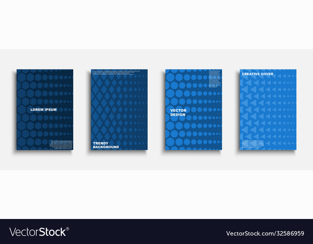 Set blue creative covers templates posters