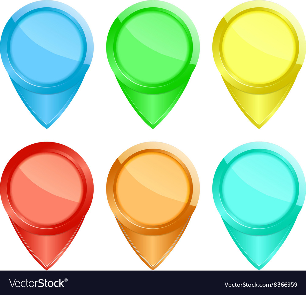 Set of colored glossy tags on the map