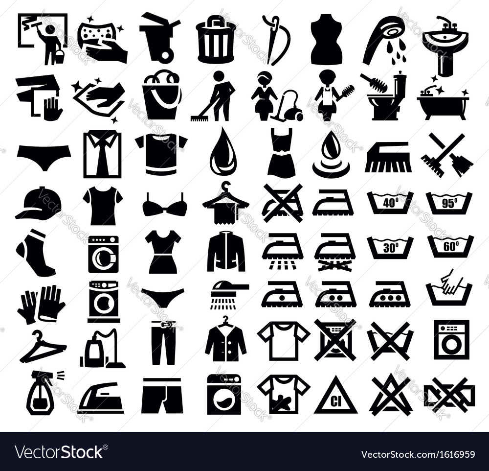 Washing signs and clothes vector image
