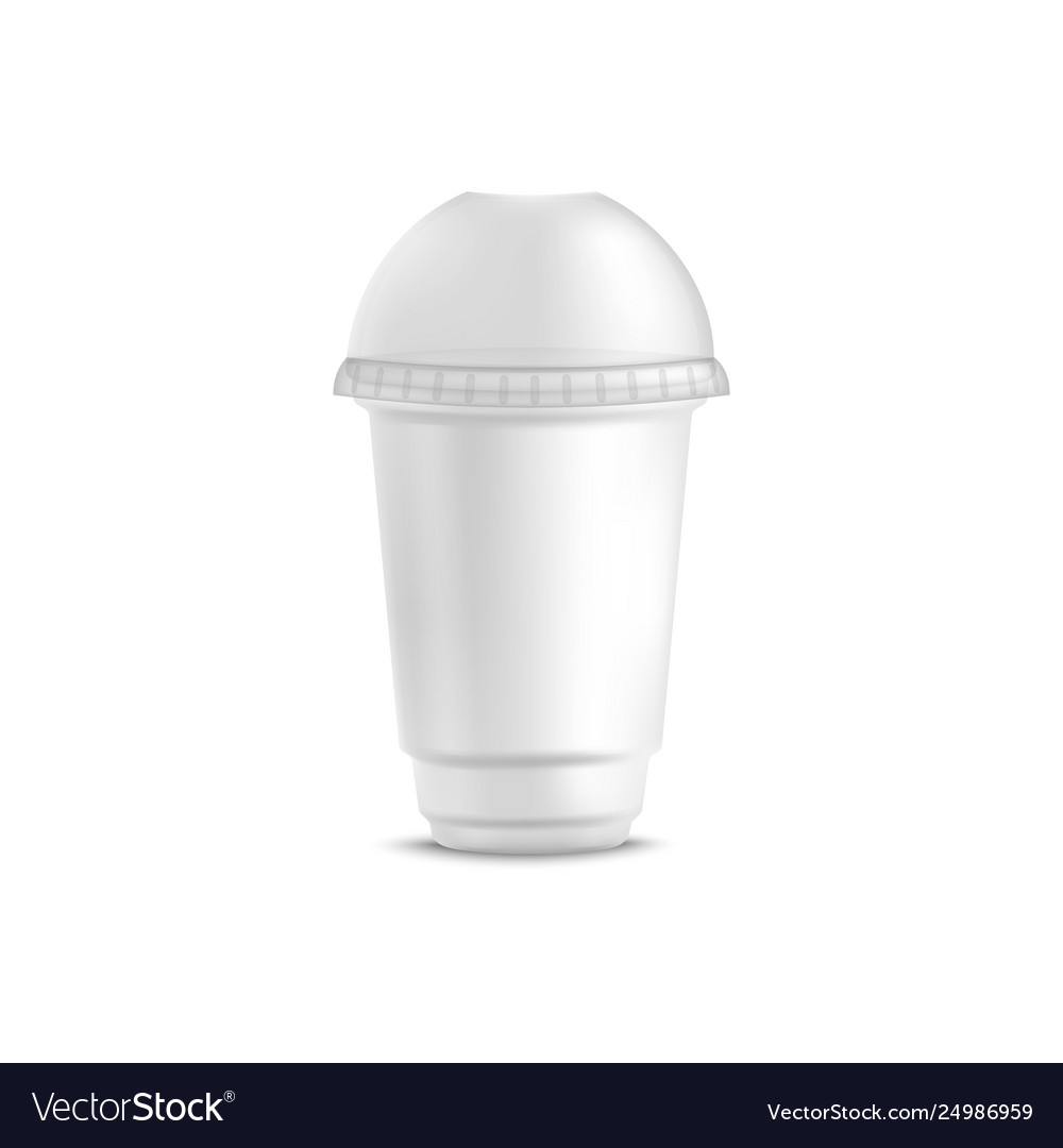 White disposable plastic cup for cold beverage