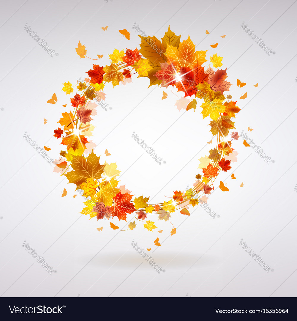 Autumn wreath of maple leaves