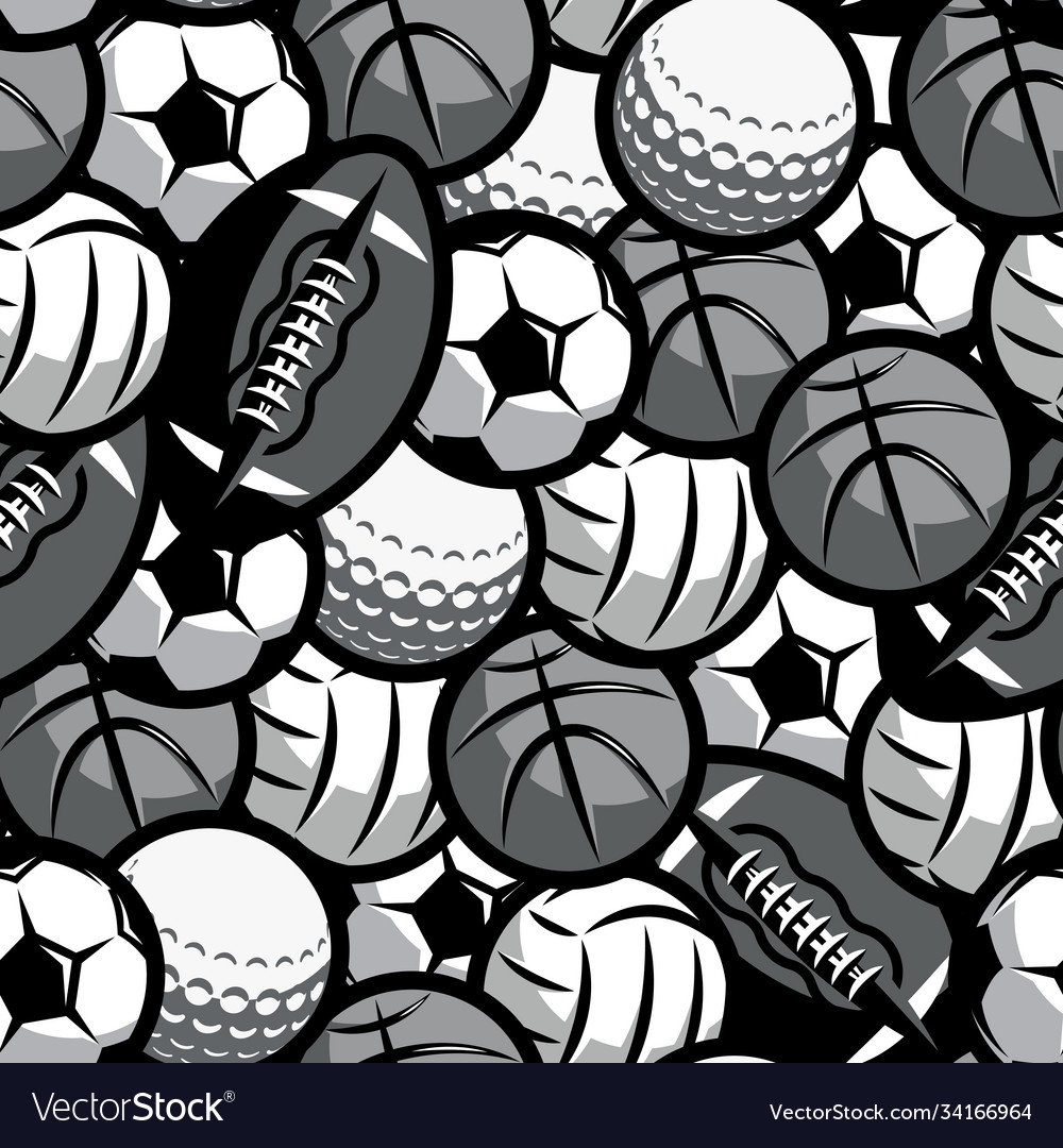 Background with different sports balls seamless
