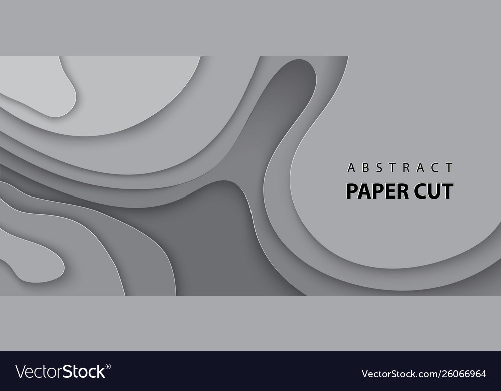Background with gray color paper cut shapes 3d