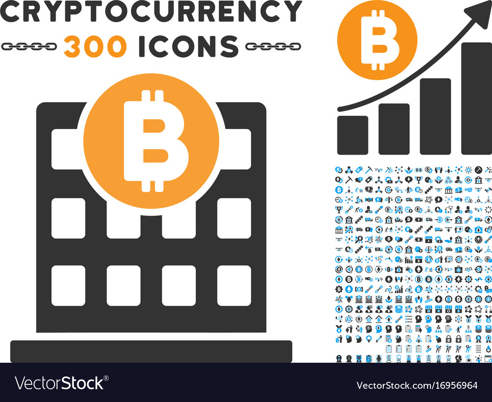 Bitcoin Office Building Flat Icon With Set Vector Image