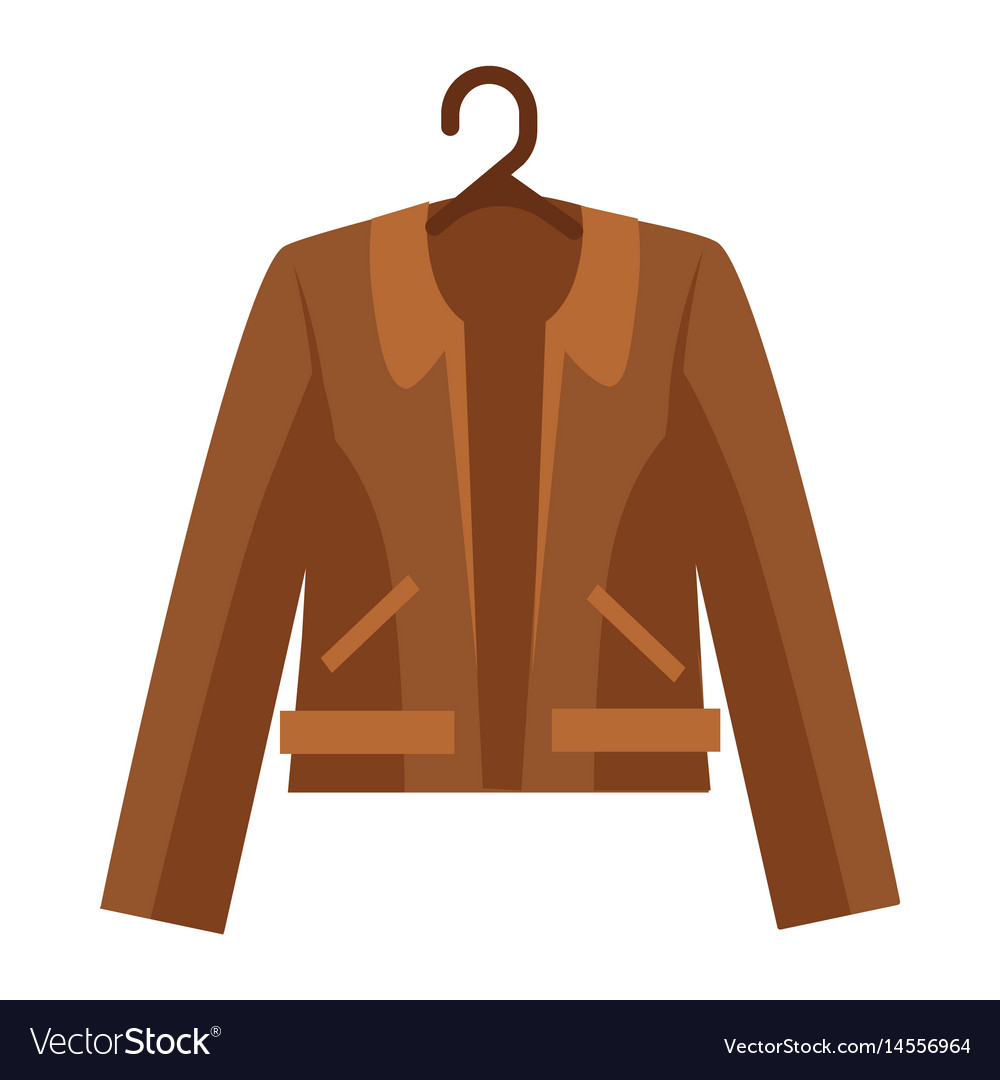 Brown shortened leather jacket with collar and