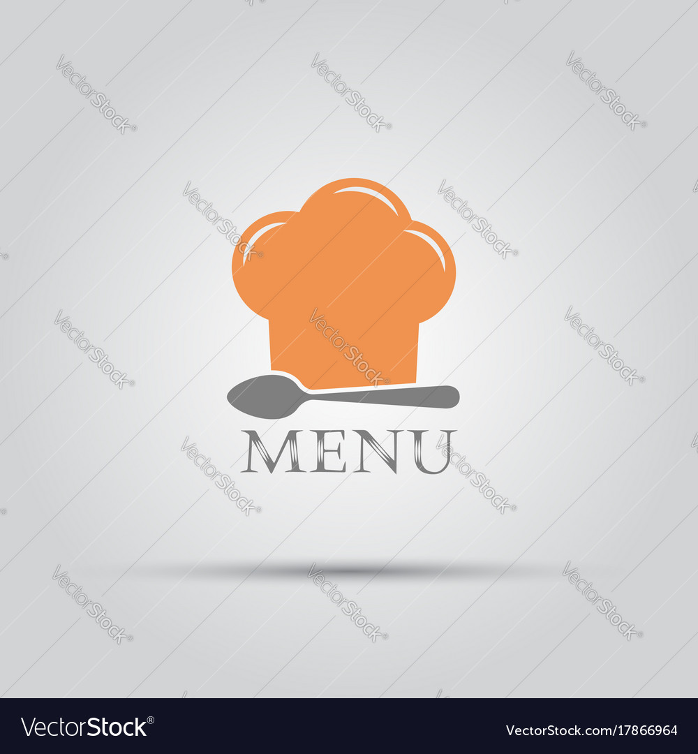 Chef hat and spoon isolated menu logo