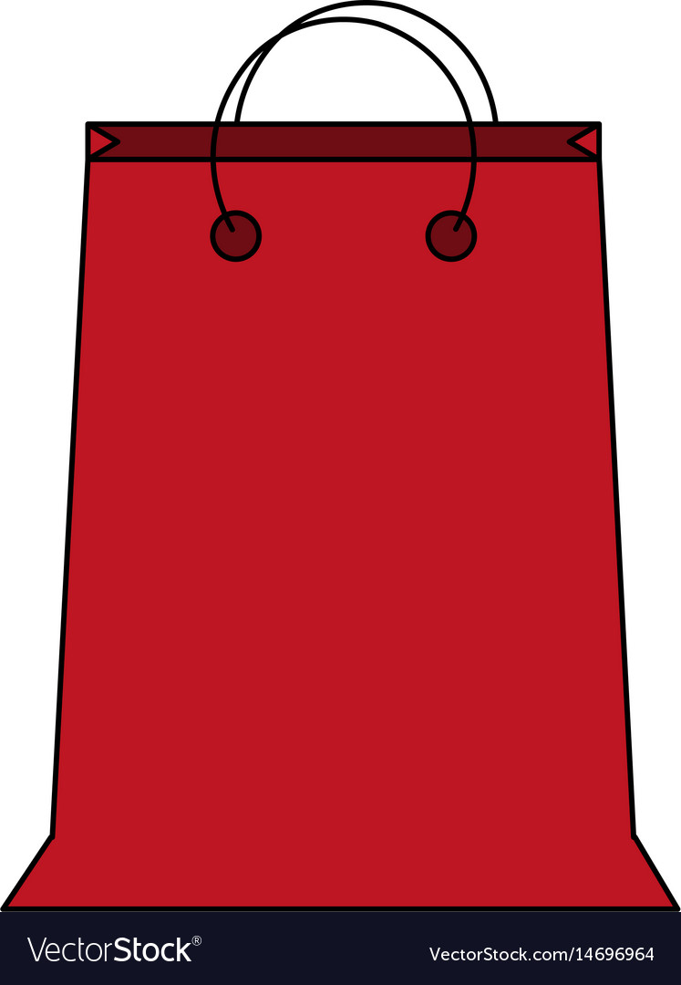 Colorful image cartoon red bag for shopping with vector image