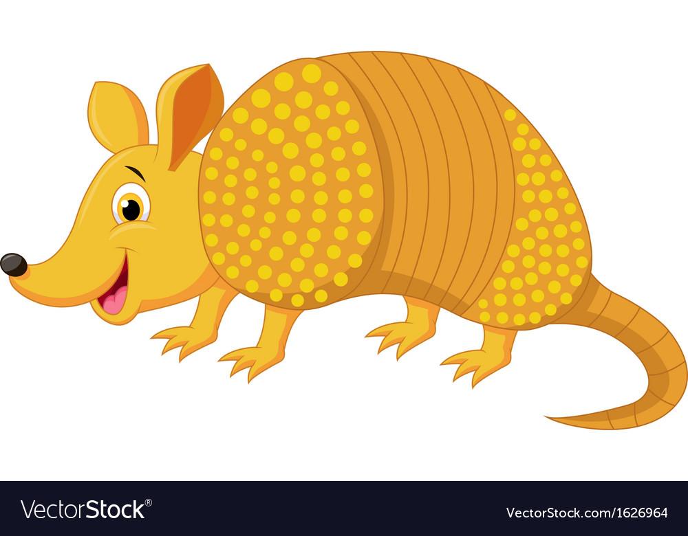 Cute armadillo cartoon vector image