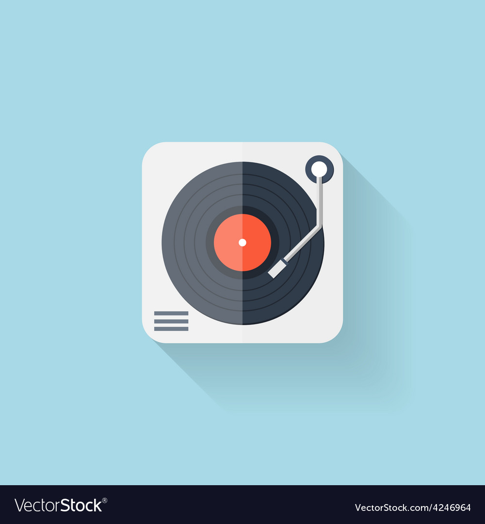 Flat web icon Vinyl player