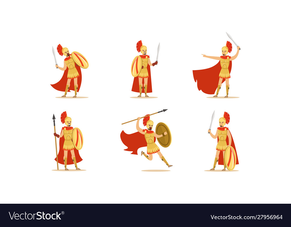 Gladiators holding swords set fighting