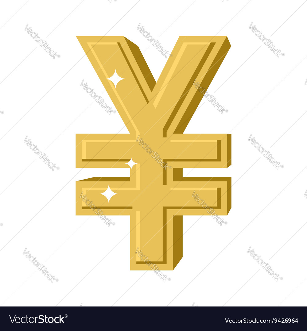 Golden Chinese Yen Symbol of money in China cash vector image