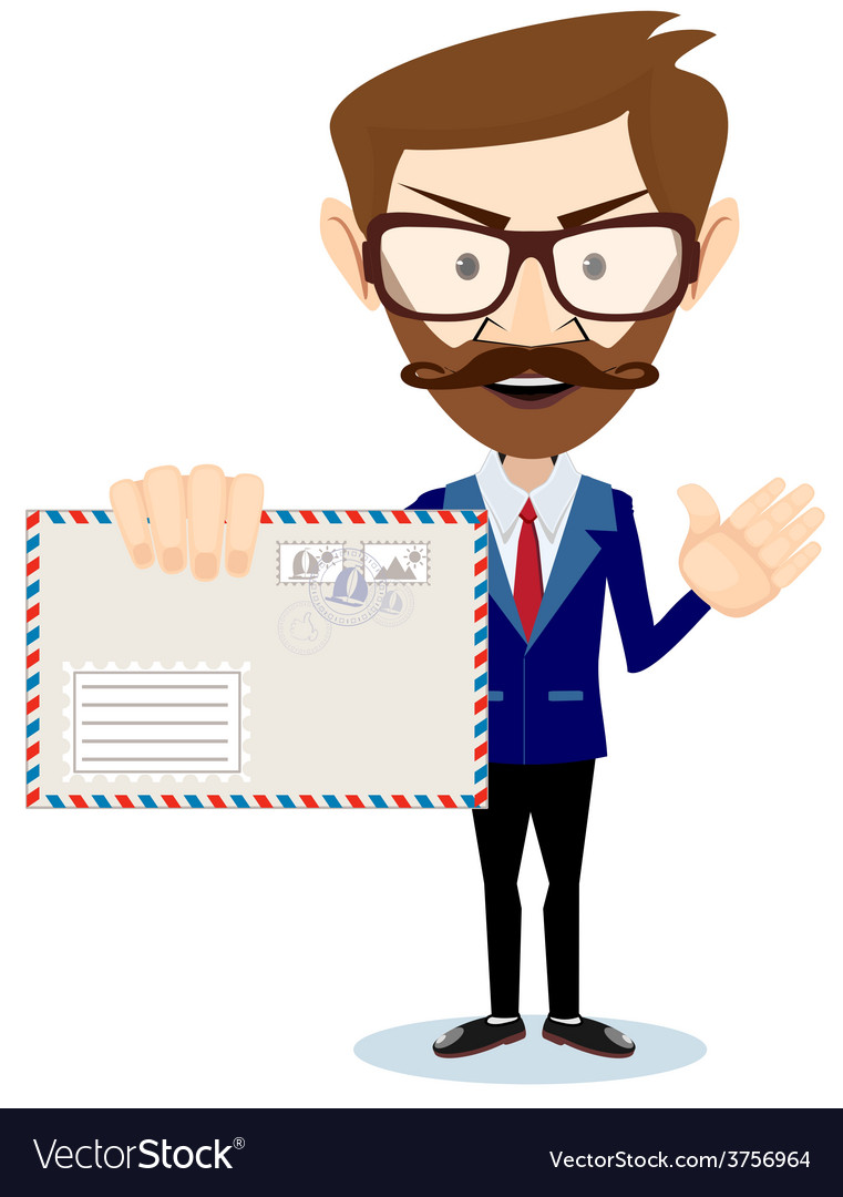Happy Man Delivering Mail Over White Background vector image