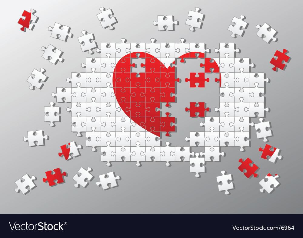 Jigsaw pieces broken heart vector image