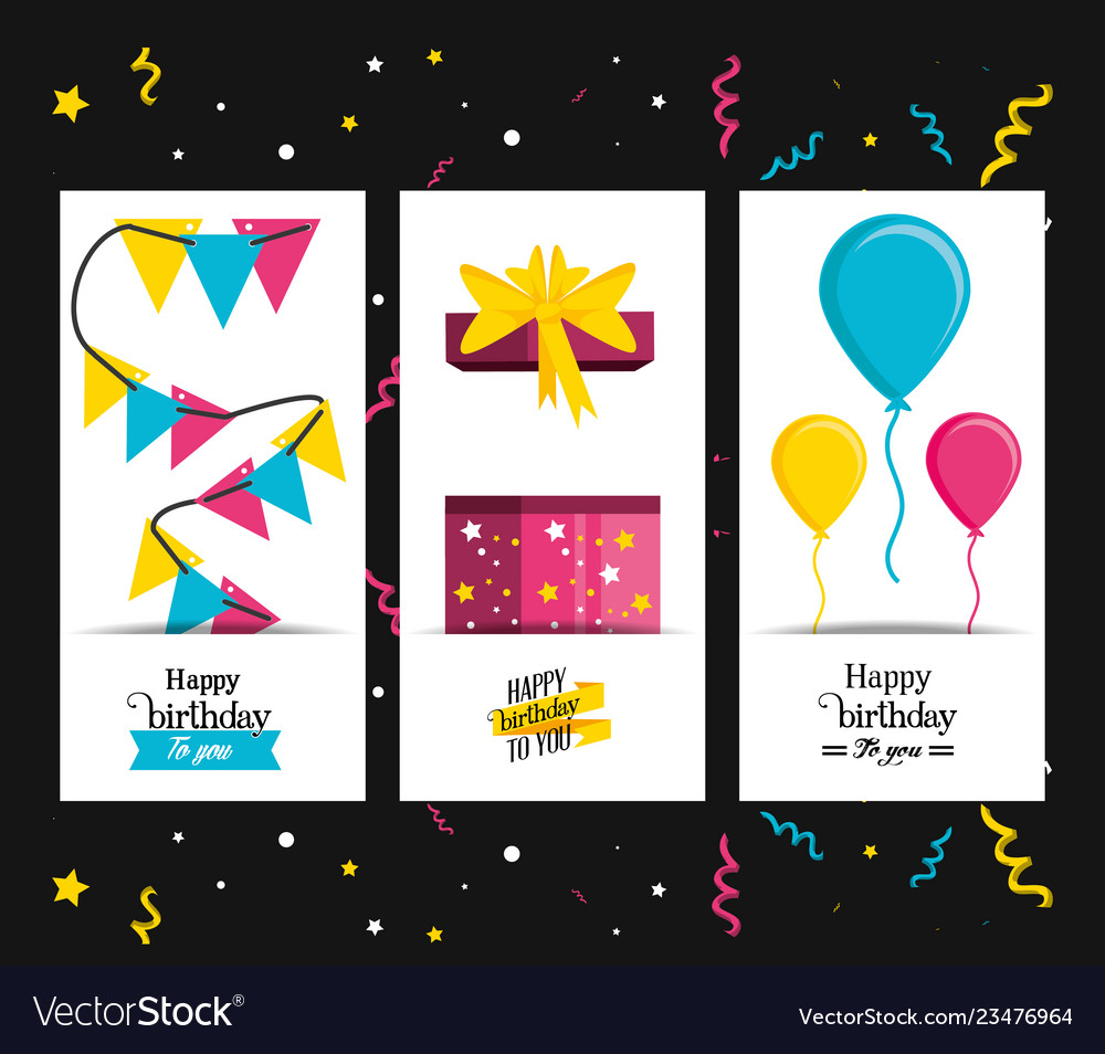 Set birthday gift with garlands and balloons air
