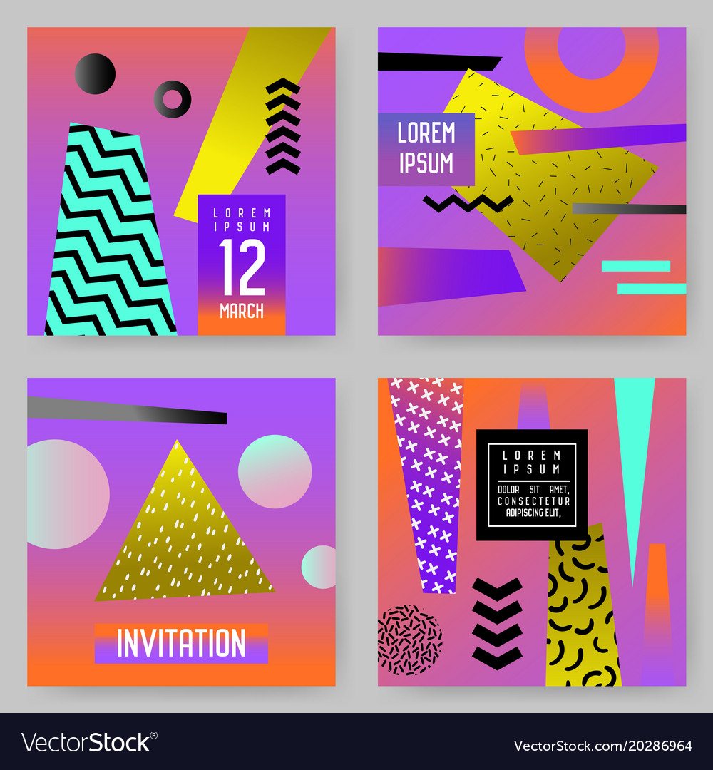 Trendy abstract posters set with place for text