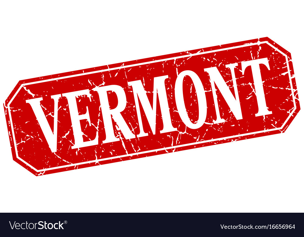 Vermont red square grunge retro style sign vector image