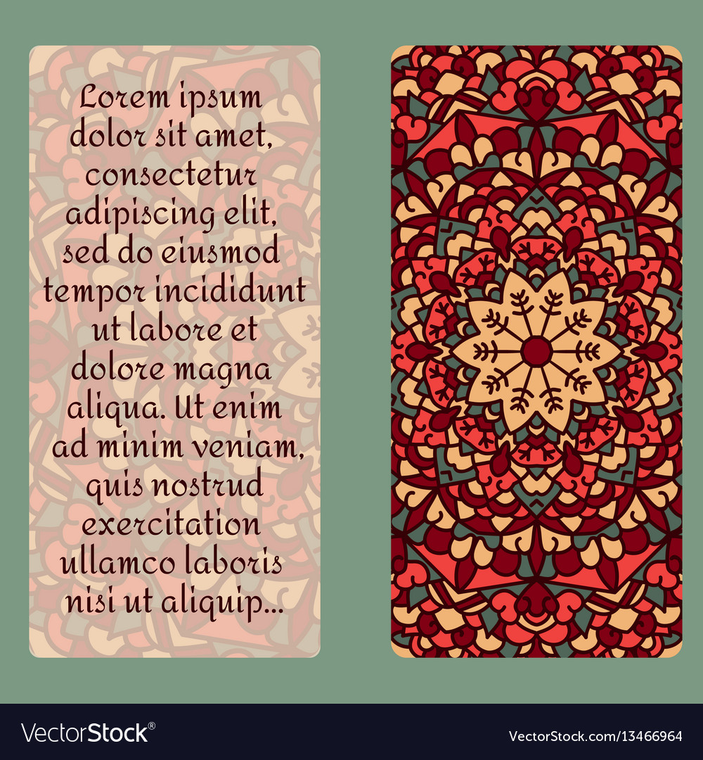 Vintage card with mandala pattern and ornament