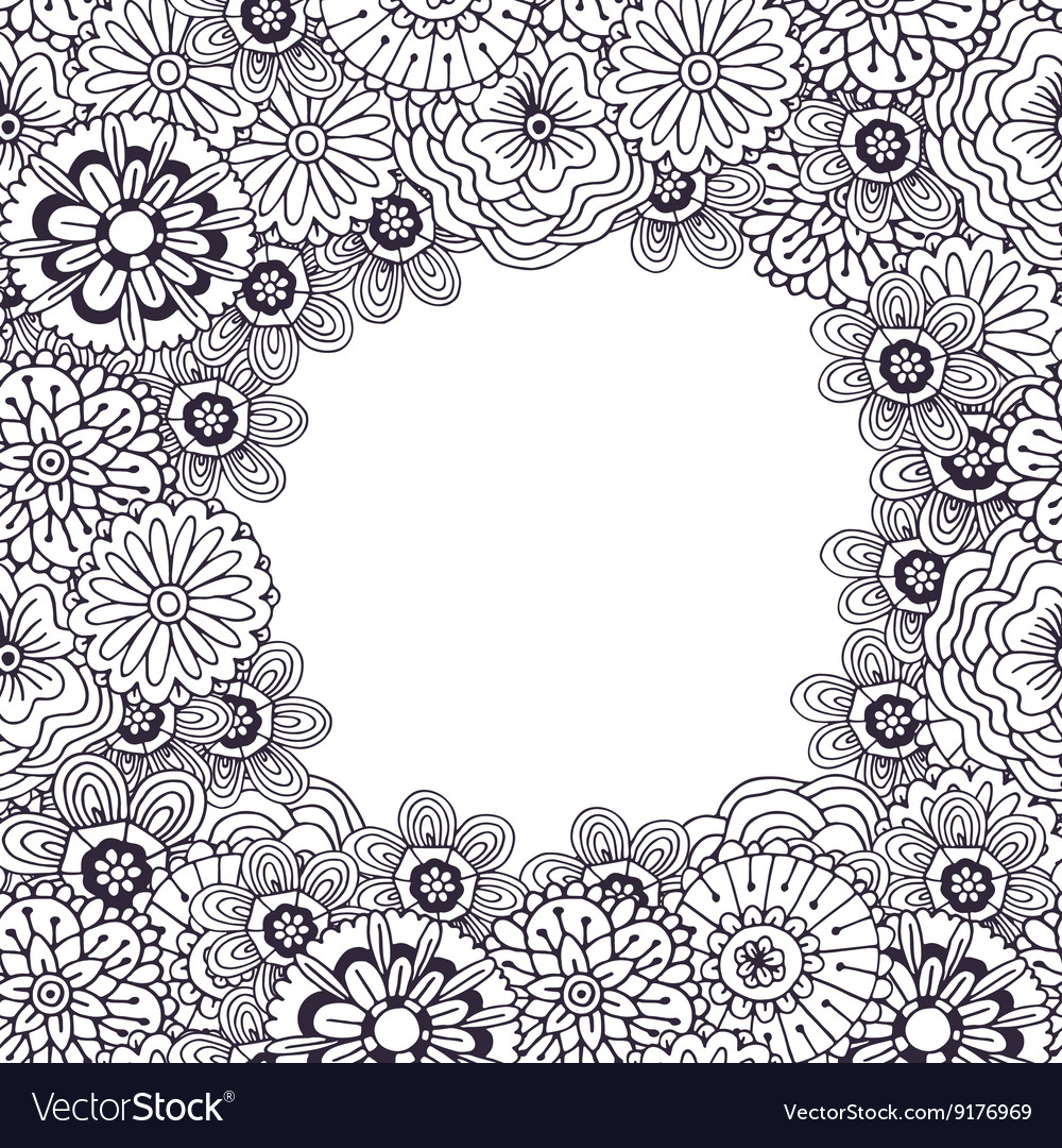 Adult coloring book page frame Royalty Free Vector Image