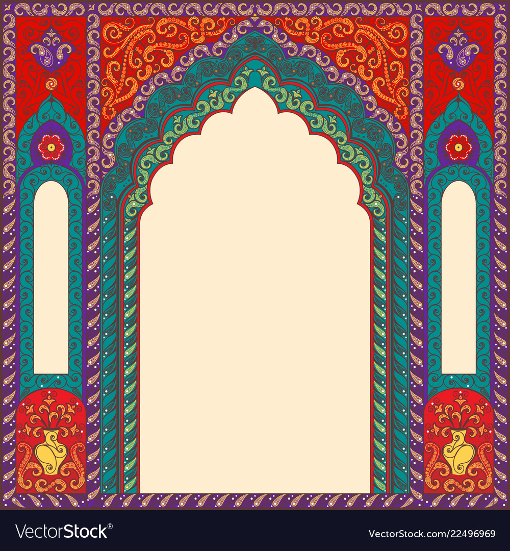 Background arch of res in the oriental style with