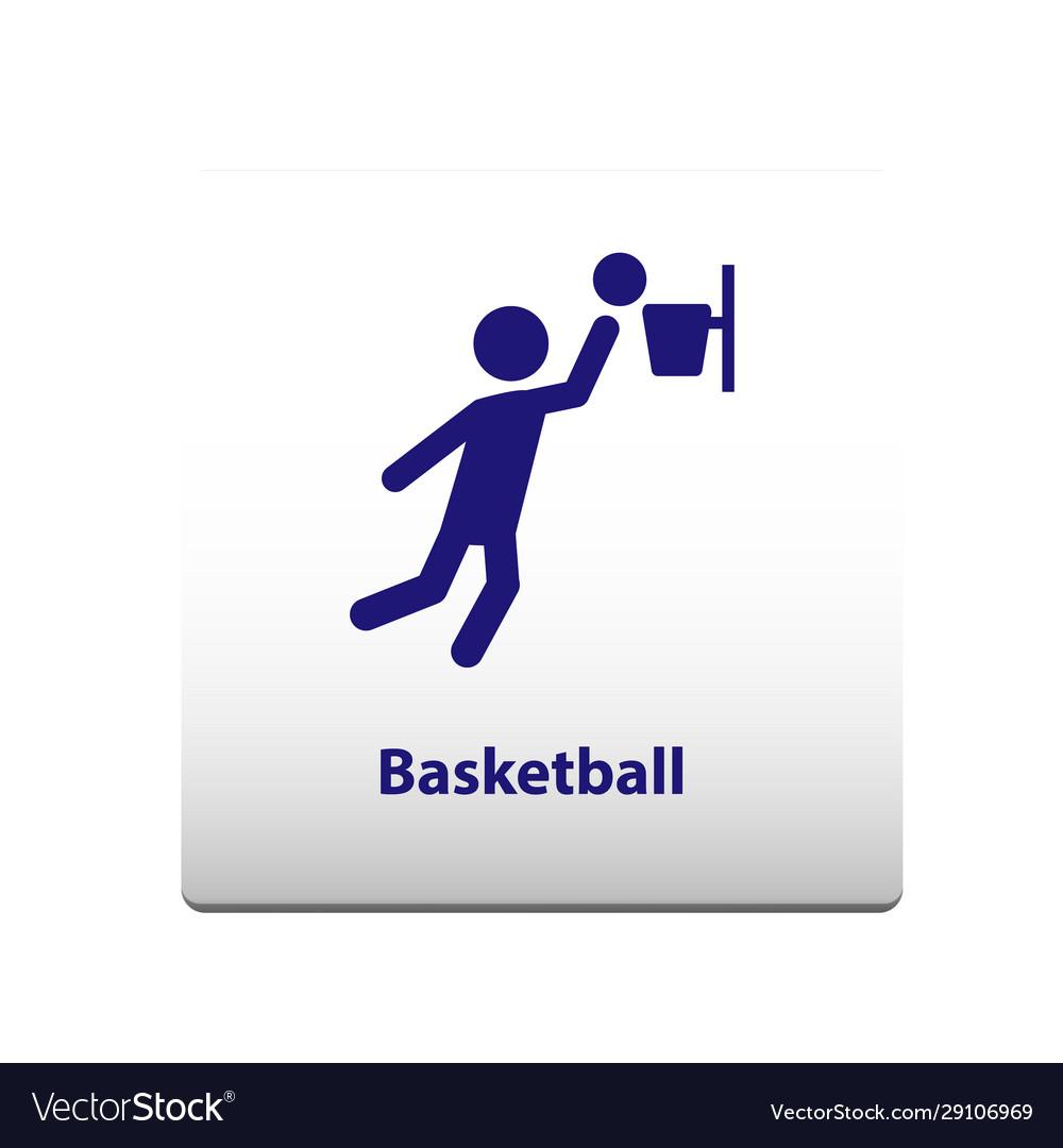 Basketball sport symbol stickman solid icon