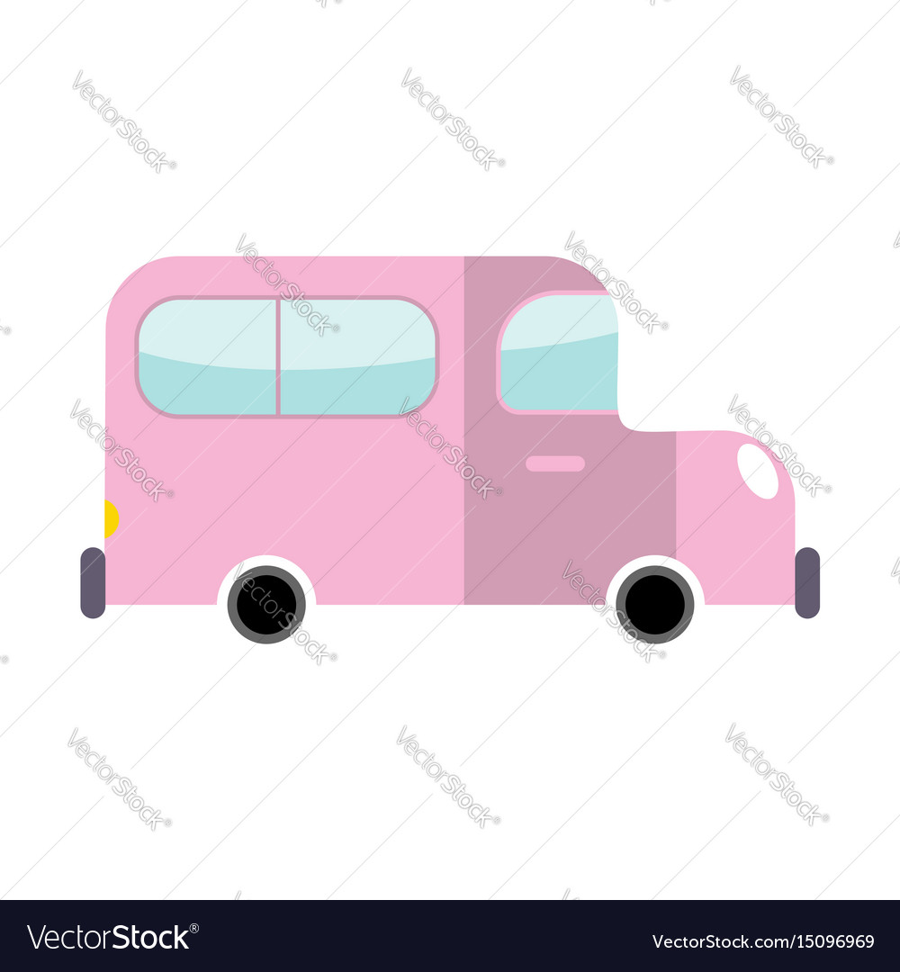 Car pink isolated transport on white background
