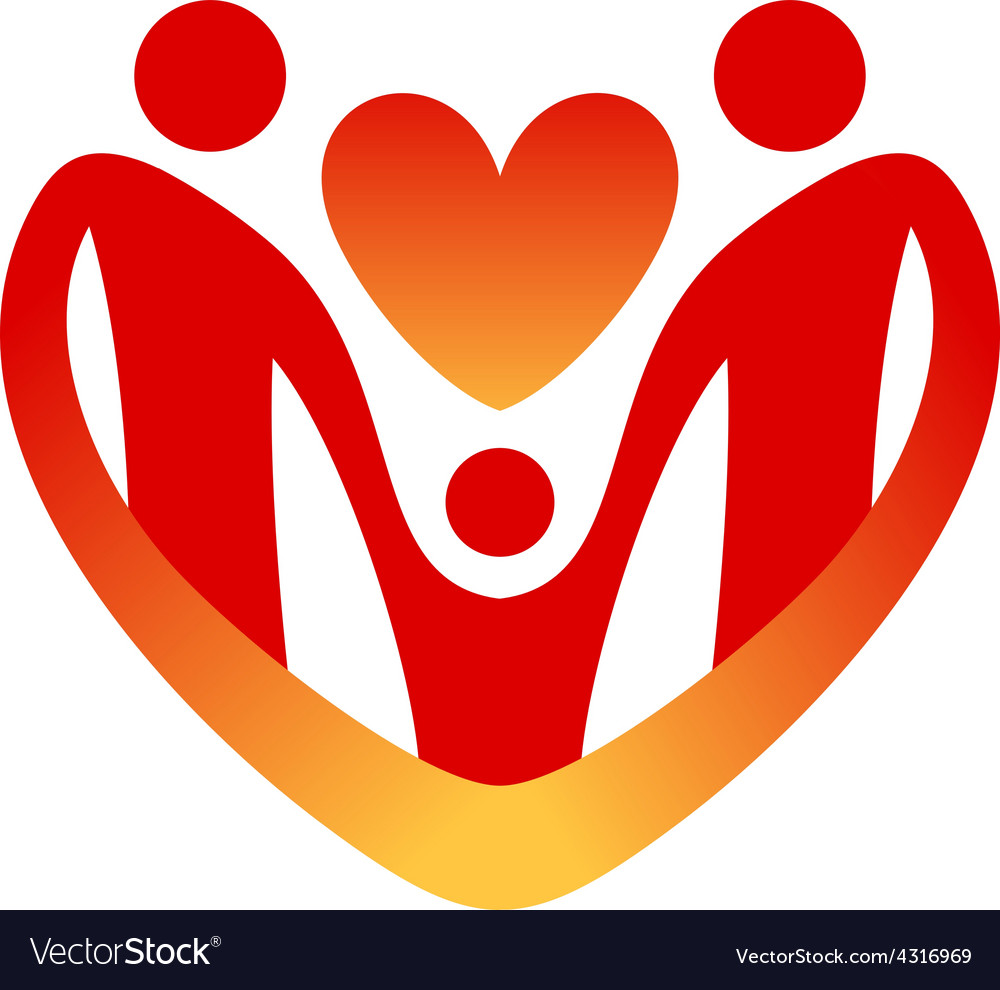 Child care logo template Shape of the heart vector image