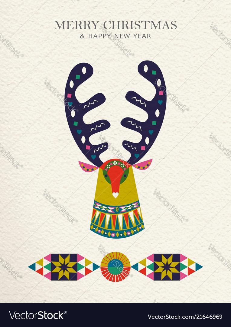 Christmas and new year reindeer folk art card