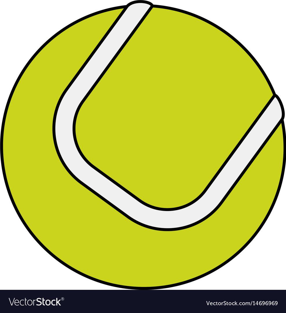 Colorful image cartoon tennis ball on white